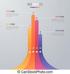 carta de barra, infographic, plantilla, para, datos, visualización, con, 4, opt