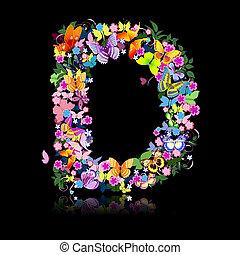 carta, de, flores, y, un, mariposa