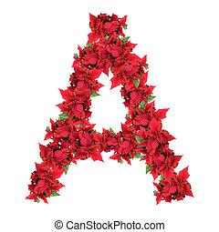 carta, de, rojo, navidad, flores, aislado, blanco