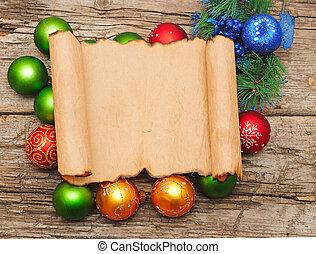 carta, decorazioni, palla natale
