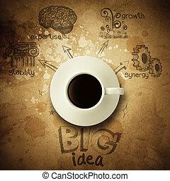 carta, diagramma, idea, fondo, tazza, grande, caffè, vendemmia