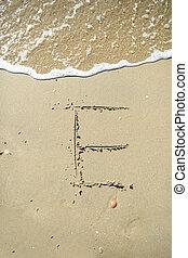 carta, dibujado, arena, playa