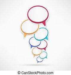 carta, discorso, bubbles.