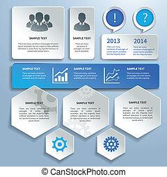 carta, elementi, disegno, affari, infographics