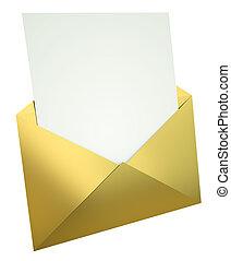 carta, en, oro, sobre