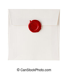 carta, estampilla, cera, sobre, aislado, sellado, sello, correo, blanco, o