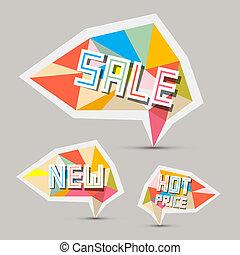 carta, etichette, set, vendita, retro