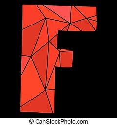 carta,  F, alfabeto, aislado,  vector, negro, Plano de fondo, rojo