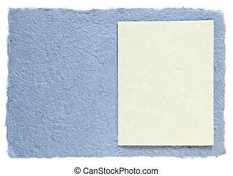carta fatta mano, con, vuoto, nota, isolato, bianco