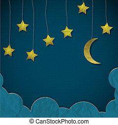 carta, fatto, stelle, luna