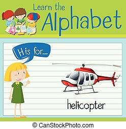 carta, flashcard, h, helicóptero