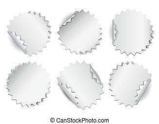 carta, fondo., bianco, set, adesivi