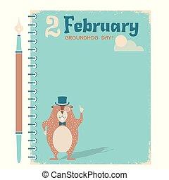 carta, fondo, groundhog, quaderno, giorno, felice, marmotta, vendemmia
