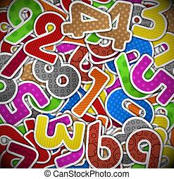 carta, fondo, numeri, colorito