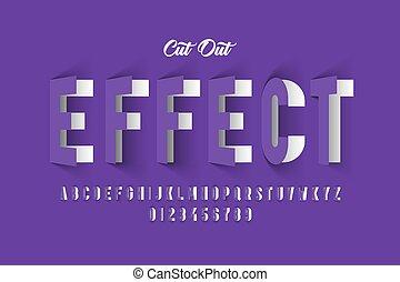 carta, font, effetto, ritagliare