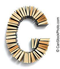 carta g, formado, de, a, página, extremidades, de, livros