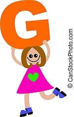 carta g, niña