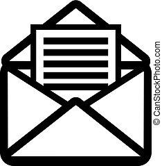 carta, icono, abierto