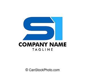 carta, inicial, si, diseño, plantilla, logotipo