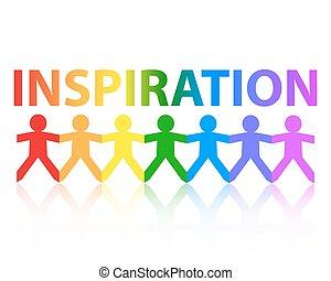 carta, ispirazione, arcobaleno, persone