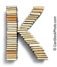 carta k, formado, de, a, página, extremidades, de, livros