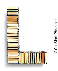 carta l, formado, de, a, página, extremidades, de, livros