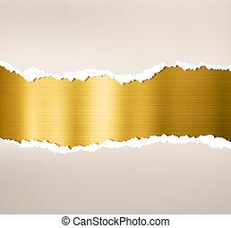 carta lacerata, con, oro, piastra metallo, fondo