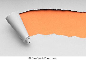 carta lacerata, con, spazio, per, tuo, messaggio