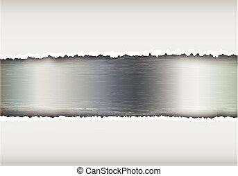 carta lacerata, fondo, metallico