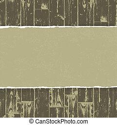 carta lacerata, su, legno, fondo., vettore, eps10