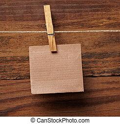 carta, legno, grunge, molletta, vestiti, nota