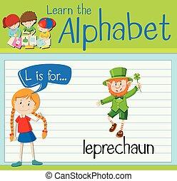 carta, leprechaun, flashcard, l