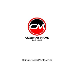 carta, logotipo, cm, inicial, plantilla, diseño