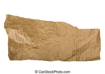 carta, marrone, bianco, strappato, pezzo