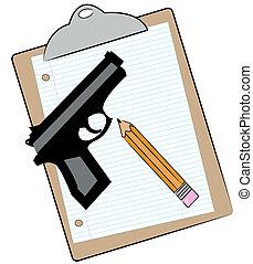 carta, matita, appunti, fucile
