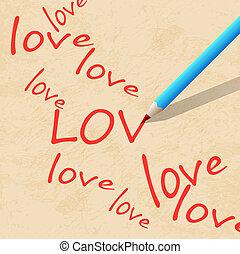 carta, matita, scrivere, parola, amore