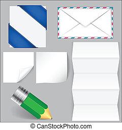 carta, matita, set, busta