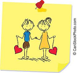 carta memorandum, coppia, figura, bastone