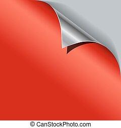 carta metallica, vettore, angolo, template., rosso, arricciato