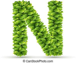 carta n, vector, alfabeto, de, hojas verdes