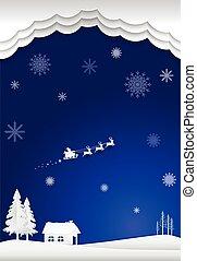 carta natale, illustration., stile, fondo., inverno, fiocco di neve, blu, santa, cottage, stagione, arte
