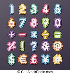 carta, numero, e, simbolo