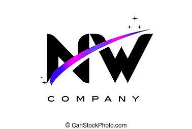 carta, nw, diseño, logotipo, magenta, negro, w, swoosh, n, púrpura