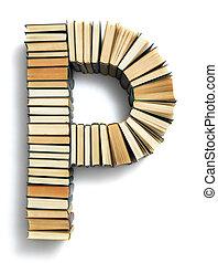 carta p, formado, de, a, página, extremidades, de, livros