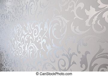 carta parati modellata, argento