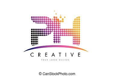 carta, ph, h, puntos, logotipo, diseño, magenta, swoosh, p