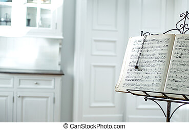 carta, punteggio, vecchio, canzone