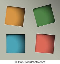carta, quadrato, fori, fondo, minimalistic