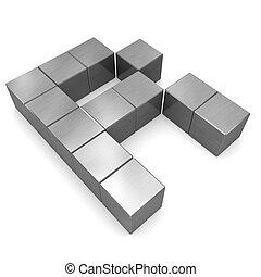 carta, r, cúbico, metal