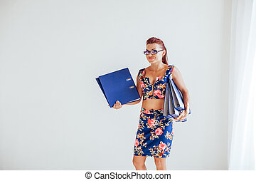 carta, ragazza, cartelle, ufficio, affari, segretario